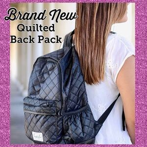 Black Quilted Backpack Simplily.com brand NWT